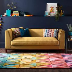 Reverie Rug | Dunelm Living Room Carpet, Rugs In Living Room, Living Room Designs, Geometric Rug, Geometric Designs, Modern Colors, Vibrant Colors, Hand Tufted Rugs, Ms Gs
