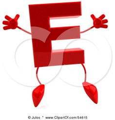 Royalty Free (RF) Clipart Illustration Of A Red Letter E With Arms And Legs  By Julos