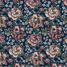 Regal Burgundy and Dark Blue Floral Tapestry Upholstery Fabric