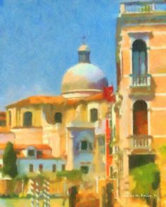 Digital Pastel Drawing of the San Geremia Church in Venice, Italy by Charles W. Bailey, Jr. | by Charles W. Bailey, Jr., Digital Artist