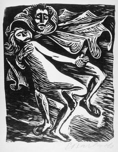 "Ernst Barlach, ""Faust Dancing with the Young Witch,"" Woodcut, 1922."