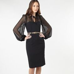 Black spotted long sleeved cocktail dress - Evening & party dresses - Dresses - Women -