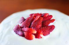 Chocolate cake with strawberries and yogurt cream