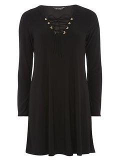 black lace up swing dress
