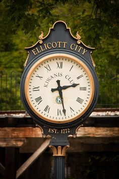 Historic Ellicott City Clock. Ellicot, Maryland, founded in 1772.