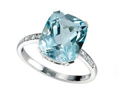Elements Gold for Ladies 9ct White Gold Blue Topaz and Diamond Ring