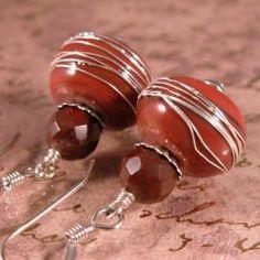 Autumn Red Glass Beads and Poppy Jasper Gemstone Sterling Silver Earrings | cserpent - Jewelry on ArtFire