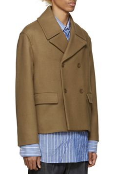 Acne Studios Camel Merge Peacoat from SSENSE (men, style, fashion, clothing, shopping, recommendations, stylish, menswear, male, streetstyle, inspo, outfit, fall, winter, spring, summer, personal) #acneclothing
