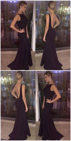 Simple Black Prom Dress, Backless Long Party Dress, Mermaid Evening Gown 51643	#RosyProm #fashionpromdress #charmingpromgown #longpartydress #simpleeveningdress #backlesspromdress #mermaidpromgown