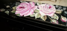 french country hand painted vintage box, roses box, black decor, shabby roses decor, pink roses, romantic country,  vintage decor, antique by CottageDesignStudio on Etsy https://www.etsy.com/listing/220408298/french-country-hand-painted-vintage-box