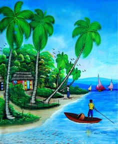 Haitian Canvas Paintings - Tropical Art Decor - Brighten your home with colorful, handcrafted art Hand Painting Art, Large Painting, Landscape Drawings, Landscape Paintings, Nature Paintings, Canvas Paintings, Artwork Paintings, Scenery Paintings, Barbados