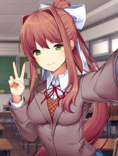 Official Monika selfie by Satchel (game's artist). | Doki Doki Literature Club | Know Your Meme