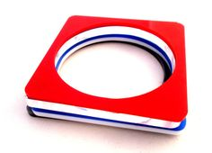 Red and Blue Acrylic bangle Bracelets. Set by GililifeCollection, $23.00 - Featured in Dress it Up! Magazine.