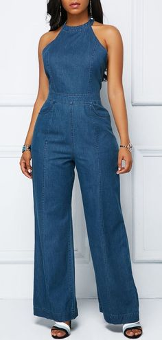 Women's Denim Jackets : High Waist Denim Blue Bib Neck Jumpsuit .With new styles added each morning,you will discover fabulous finds for you,your family,&your home. Denim Fashion, Fashion Outfits, Summer Outfits, Cute Outfits, Casual Outfits, Jumpsuit Dressy, Latest African Fashion Dresses, Denim Outfit, Clothes For Women