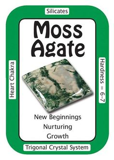 """Moss Agate, """"I live in an abundant world."""" The gentle, nurturing energy of Moss Agate encourages the user to appreciate and enjoy each moment on Earth, and assists the planet in its healing. Place it around plants to foster better growth."""