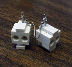 Mini LEGO Skull Dangle Earrings by FoldedFancy on Etsy, $16.00