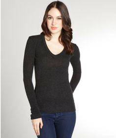 Inhabit Charcoal Cashmere V-Neck Long Sleeve Sweater on shopstyle.com
