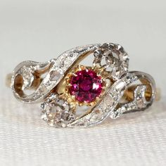Scrolling Antique French Diamond Ruby Ring