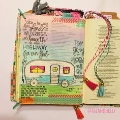 I was so inspired by @superkdubs camper in her Bible that I had to have my own! Not to mention these new acrylic paints by @marthastewartcrafts make me super happy!!  | day 19 of #illustratedaugust | #tazandbellydoodle #illustratedfaith #biblejournaling