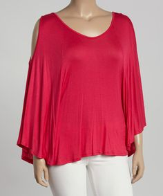 Love this Hot Pink Cape-Sleeve Top - Plus by Poliana Plus on #zulily! #zulilyfinds