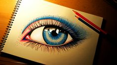 Eye blue draw pencil colorful eyes drawing graphic art by Smoliński Piotr