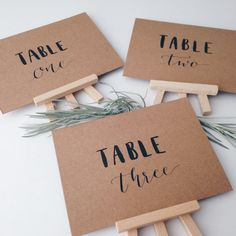 Table Numbers // Kraft Card // Brush Lettering  // Modern Calligraphy