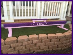 "8' Purple Suede Gymnastics Balance Beam on Bubblegum Pink 12"" Legs Personalized with matching Anerican Girl Doll Beam"