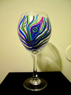 Peacock Feather Painted Wineglass