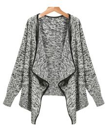 Grey Long Sleeve Trim Cardigan Sweater - Sheinside.com
