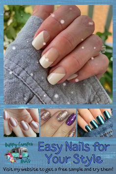 What a fun and unique way to use the French tip set. Easy nails! Pretty nails! No trip to the salon! Saves time & money. Visit Happy Camper Nails to see all the latest designs, colors and patterns. You can even get a 2 nail sample to try them for yourself. Our 100% nail polish strips provide base, color, and top coat in every strip with the bonus of no drying time! Colors are vibrant, glossy & they easily adhere to the nail instantly. Easy to remove with any nail polish remover. Easy Nails, Simple Nails, Diy Beauty, Beauty Hacks, Girlie Style, Nail Polish Strips, Wedding Beauty, French Nails, Women's Jewelry
