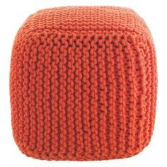 KNOT Orange knitted square pouffe