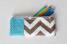 Blue & Brown Chevron - Pen and Pencil Zipper Pouch (also great for cosmetics) #amandafairdesigns