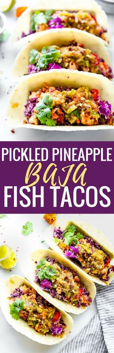 These Pickled Pineapple Baja Fish Tacos are my latest love! Easy to make with homemade pickled pineapple relish, cabbage slaw with avocado cream, and Baja style fried fish all wrapped in a warm gluten free tortilla! So much flavor but also SO simple and healthy to make. Paleo option!