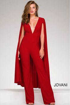 Jovani 46031 Red V Neck Jersey Cape Jumpsuit More For Sam's wedding buy in white Cape Jumpsuit, Fitted Jumpsuit, Cape Dress, Sparkly Jumpsuit, Formal Jumpsuit, Jumpsuit Pattern, Dress Red, Jovani Dresses, Prom Dresses