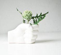 Vintage Hand Planter - White Ceramic Hand