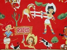 Alexander Henry Sisters of the Wild Frontier Fabric Cotton Sexy Pin-Up COWGIRLS   eBay Wild West Party, Cowgirl Photo, Horse Fabric, Alexander Henry Fabrics, Fabric Pictures, Red Fabric, Red Background, Cowgirls, Cotton Quilts