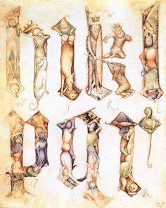 Giovannino de´Grassi, precursore del Gotico internazionale. Lettere gotiche figurate (H, I, K, L, P, Q, R), da un libro di modelli, Biblioteca Angelo Mai, Bergamo (1390)