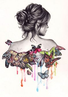 (almost) everything I love in one picture-drawing, butterflies, drips of color :D