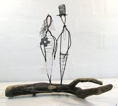 Wire Sculpture Wedding Gift Metal and Driftwood by idestudiet
