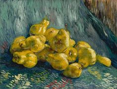 Vincent van Gogh - Still Life with Quinces at Galerie Neue Meister - The Albertinum - Dresden Germany Van Gogh Pinturas, Vincent Van Gogh, Van Gogh Still Life, Still Life Art, Monet, Rembrandt, Dresden Germany, Desenhos Van Gogh, Still Life
