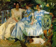 My wife and my daughters in the garden Painting by Joaquin Sorolla y Bastida. Spanish Painters, Spanish Artists, Figure Painting, Painting & Drawing, Painting Lessons, Illustration Art, Illustrations, Garden Painting, Manet