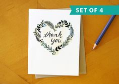 Green Heart Thank You Card: Hand Drawn and Hand Painted Card Set / Set of 4 on Etsy, $16.00