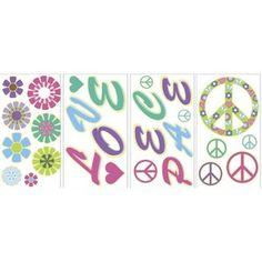 WallPops! Peace Love Flowers Glow in the Dark Wall Art Kit