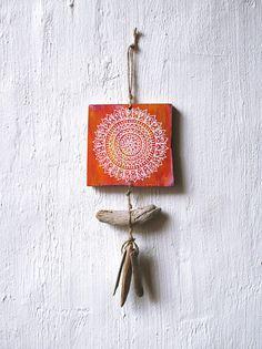 Hand bemalt kleine Mandala Mobile Wandbehang Boho Dekor