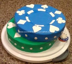Homemade Poker Chip Birthday Cake: I did this Homemade Poker Chip Birthday Cake on a whim for my husband's poker night because I wanted to try out a new cake recipe.  I had been searching