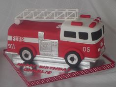 I made this for my son's 5th birthday. I used a toy fire truck and some pictures from the internet for inspiration. I also looked at nearly every fire truck cake on cc! I carved the cake from a 9x13 and covered it in fondant. All of the details are fondant except for the ladder which is royal icing. I wanted to add some more little details, but I was just too tired to do anymore.