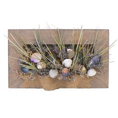 """Beachy Burlap 14"""" Seashell & Dried Floral Wall Art - Our Beachy Burlap Collection is designed with a east coast feel with blue mussel shells, English lavender, scallops and beach grass. We used woven burlap to give this design an natural beach feel. http://www.deliverstar.com/Beachy-Burlap-14-Seashell-Dried-Floral-Wall-Art-P2700C54.aspx"""