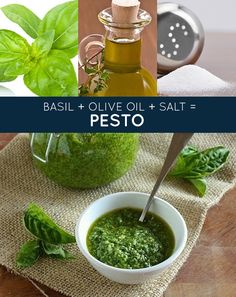 basil + olive oil + salt = pesto 3 ingredient only recipes! Tomato sauce, Mac n cheese, olive oil pasta sauce Paleo Recipes, Real Food Recipes, Cooking Recipes, Yummy Food, Three Ingredient Recipes, Healthy Snacks, Healthy Eating, Pesto Recipe, Pesto Sauce