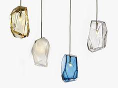 Lampada a sospensione in vetro soffiato CRYSTAL ROCK Collezione Design Lighting by Lasvit   design Arik Levy