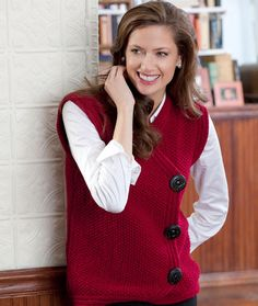 Side Buttoned Vest Free Knitting Pattern from Red Heart Yarns. - Crochet and Knit Free Knitting Patterns For Women, Knit Patterns, Beginner Knit Scarf, Knit Vest Pattern, Red Heart Yarn, Madame, Cardigans For Women, Knit Crochet, Couture